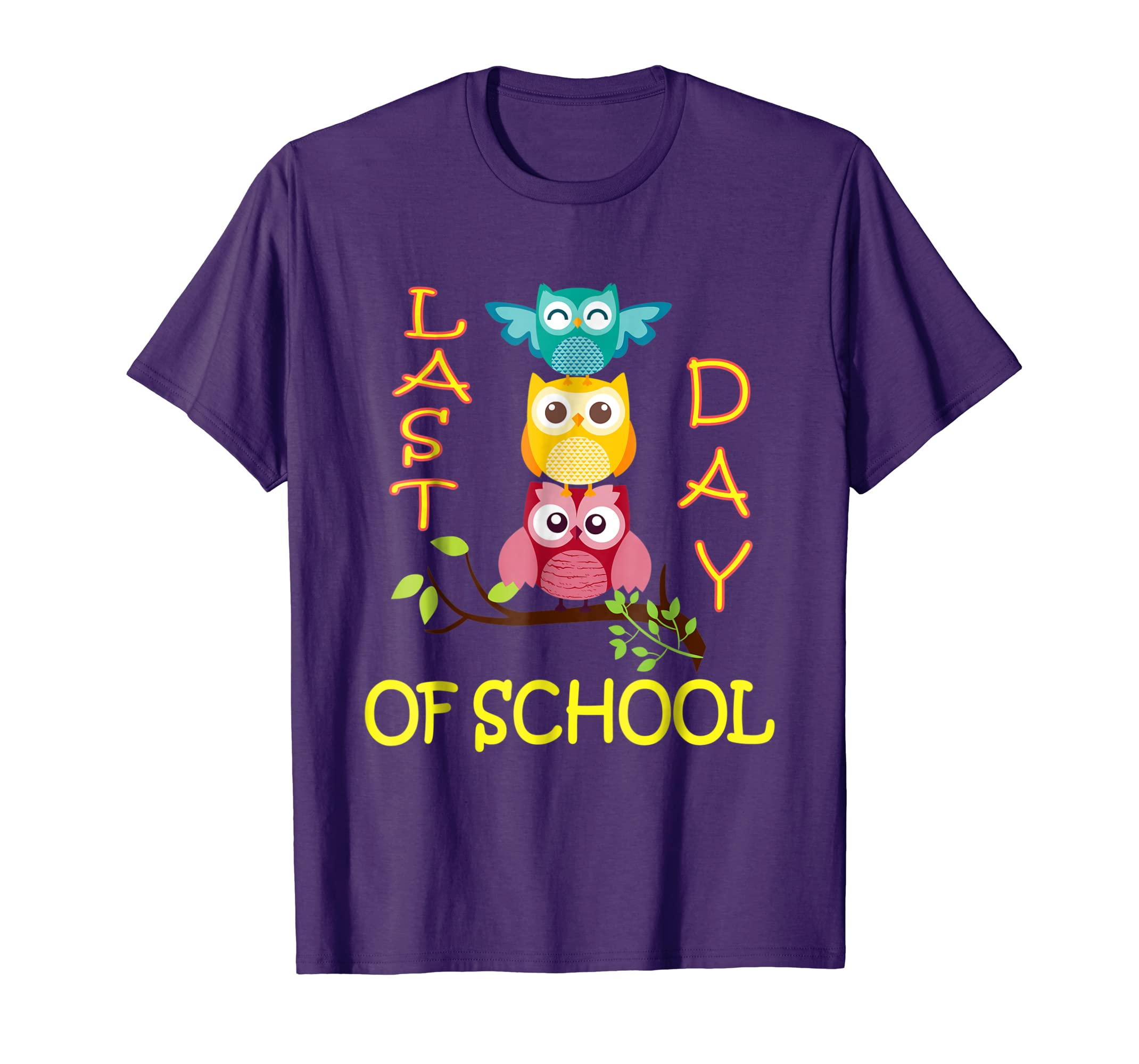 Cute Owls Emotion Face T-Shirt Happy Last Day Of School-AZP