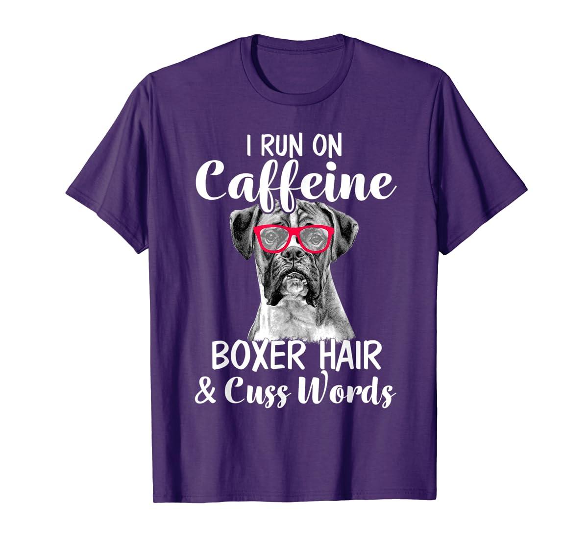 I Run On Caffeine Boxer Hair Mom Tshirt, Mothers Day Shirt-Men's T-Shirt-Purple
