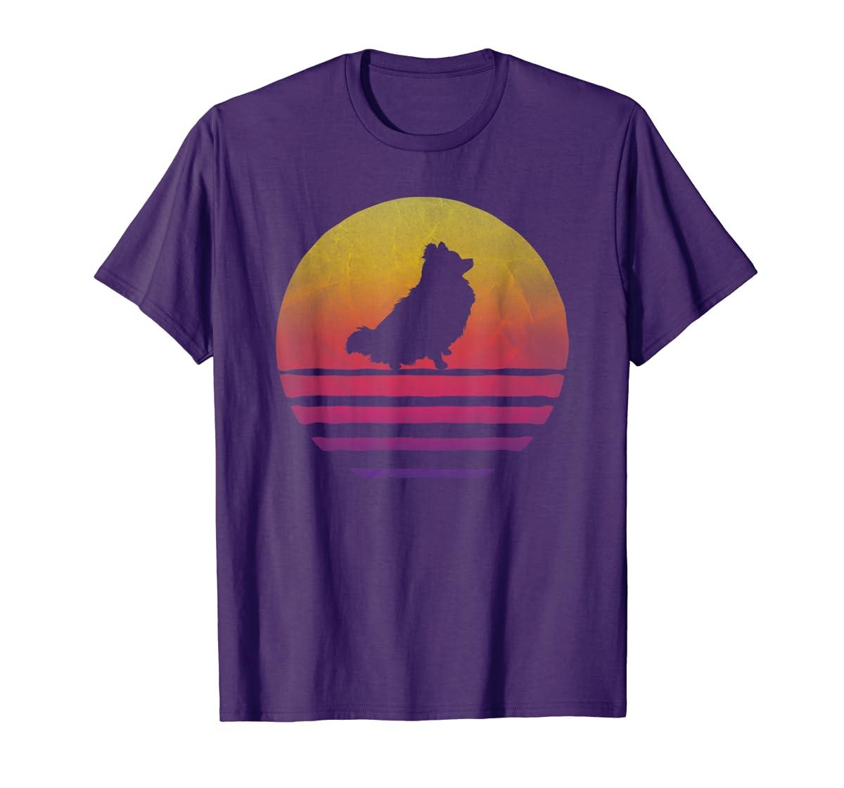 Retro Vintage Sunset Pomeranian Dog Lover Silhouette Gift T-Shirt-Men's T-Shirt-Purple