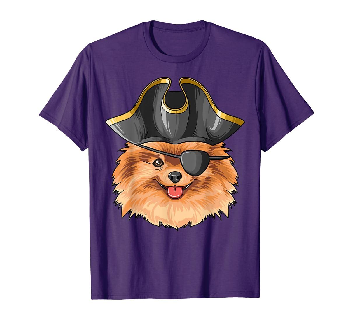 Pirate Pomeranian Pirates Hat Pomeranian T-Shirt-Men's T-Shirt-Purple