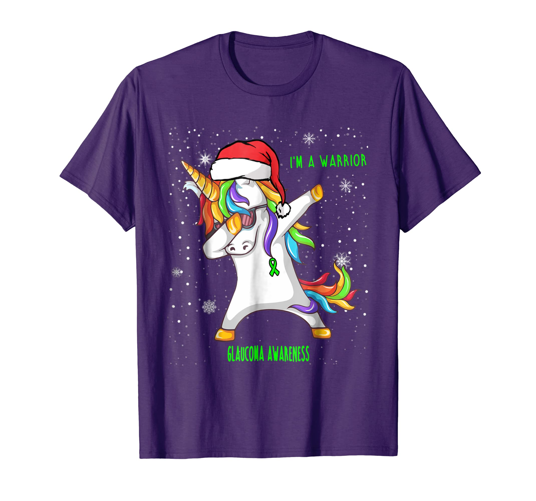 Unicorn Glaucoma Warrior Awareness Christmas Shirt-azvn