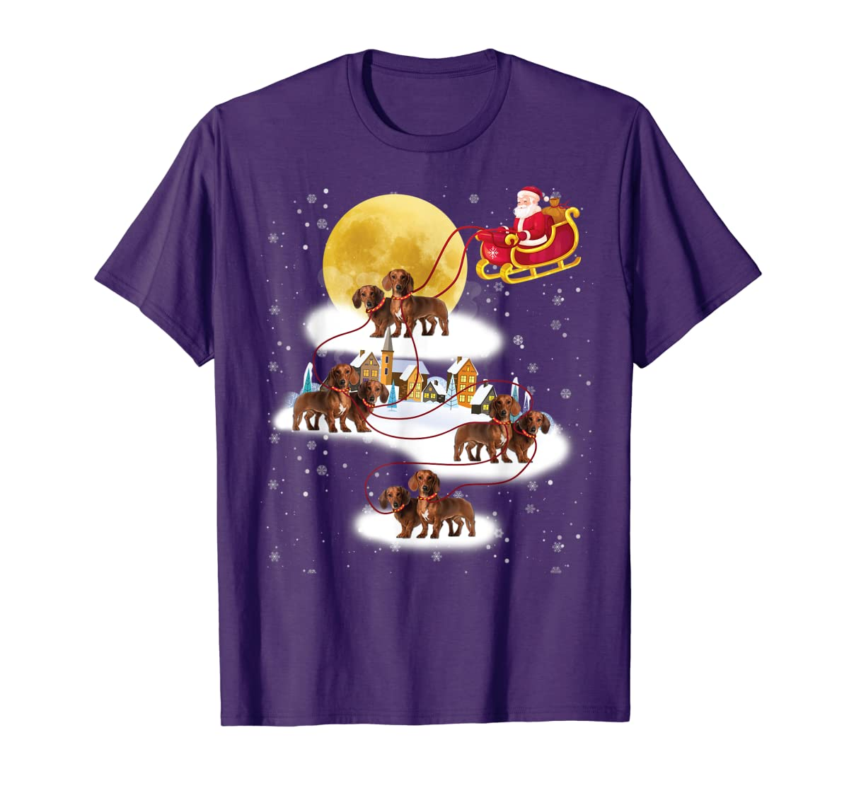 Dachshund Reindeer Christmas 2019 Dog Gift T-Shirt-Men's T-Shirt-Purple