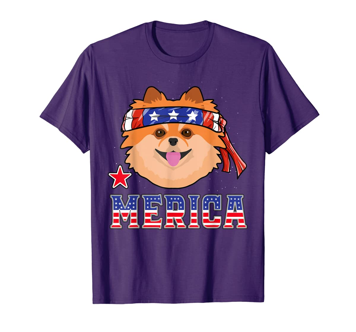 Pomeranian Dog Patriotic American 4th Of July Gift Dogs T-Shirt-Men's T-Shirt-Purple