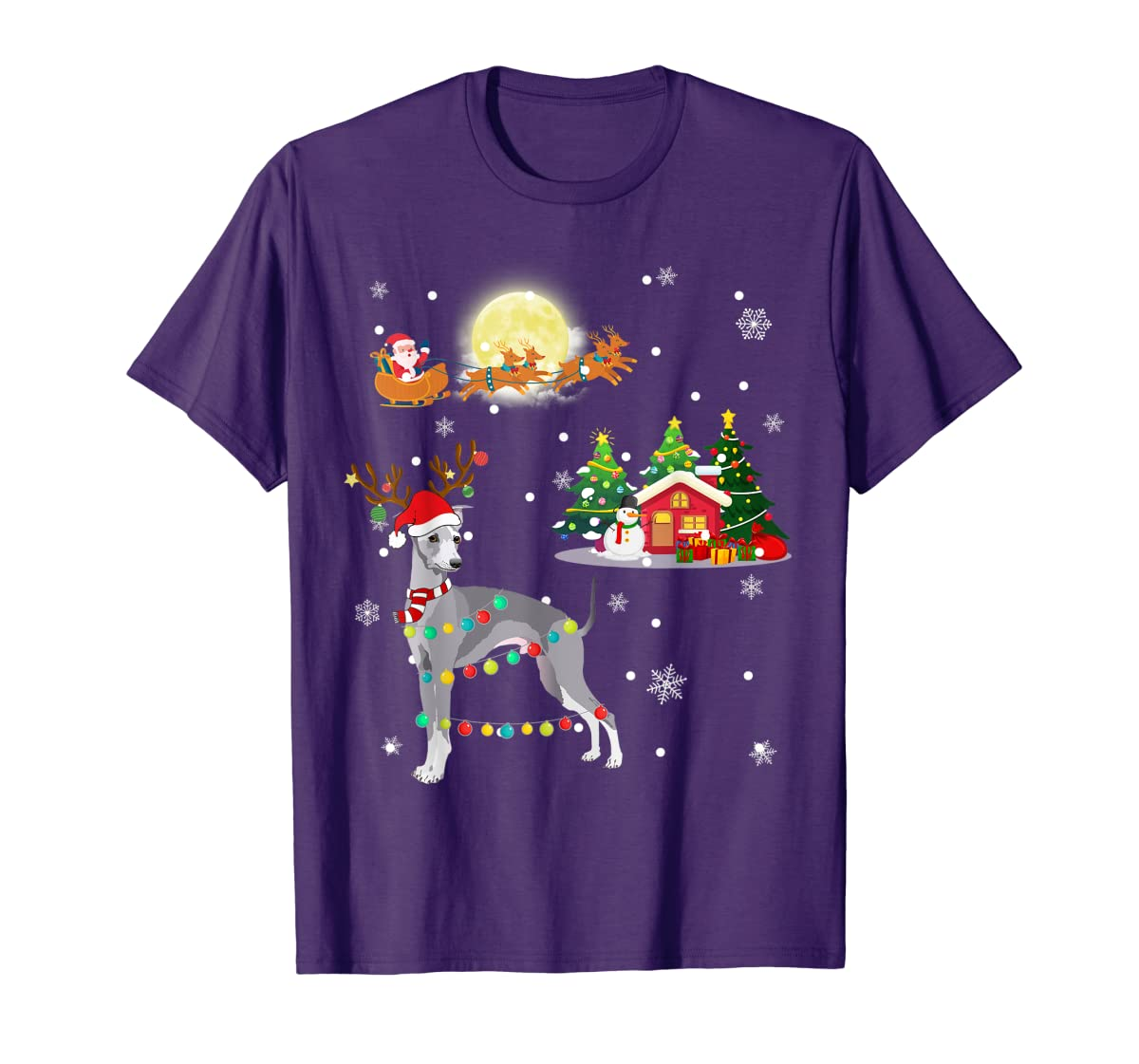 Greyhound Dog Led Light Christmas 2019 Gift T-Shirt-Men's T-Shirt-Purple
