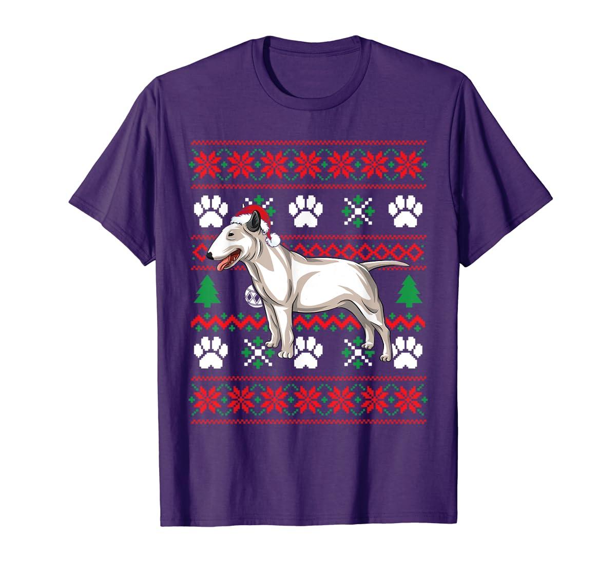 Bull terriers Ugly Christmas T Shirt Bull terriers Santa Hat T-Shirt-Men's T-Shirt-Purple