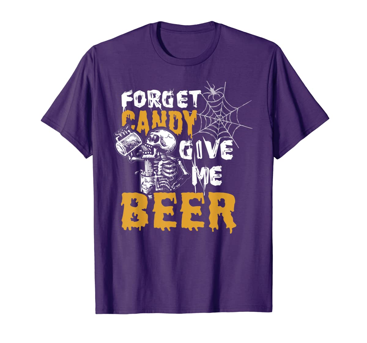 Forget Candy Give me Beer shirt Halloween Shirt gifts T-Shirt-Men's T-Shirt-Purple