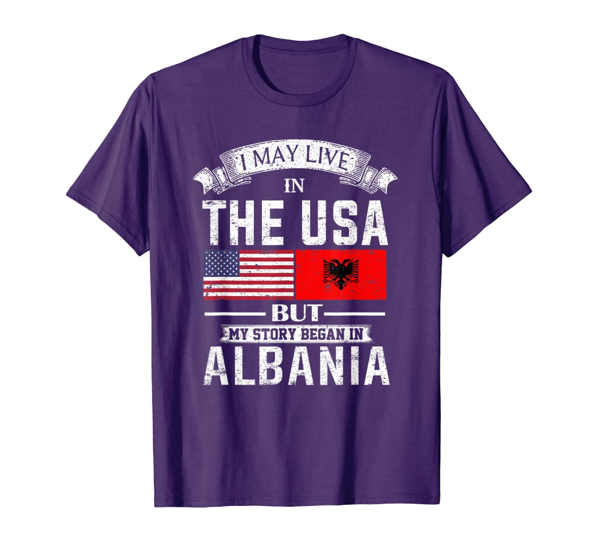 I May Live in USA But My Story Began in Albania T-Shirt-Men's T-Shirt-Purple
