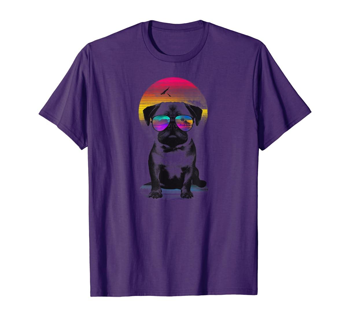 Holiday Sunglasses Pug T-shirt for Women, Men-Men's T-Shirt-Purple