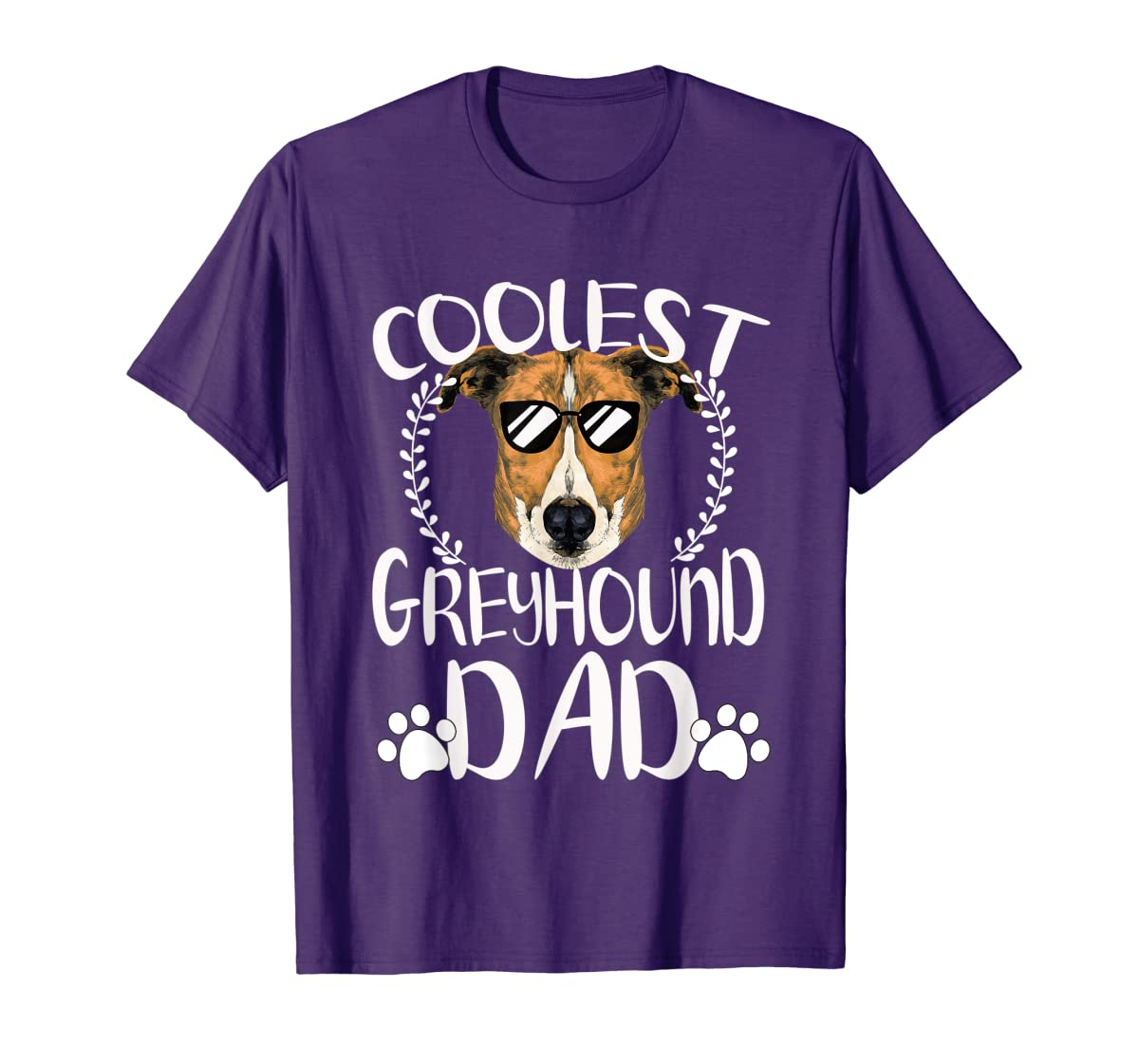 Glasses Coolest Greyhound Dog Dad T-Shirt Father's Day Gifts-Men's T-Shirt-Purple