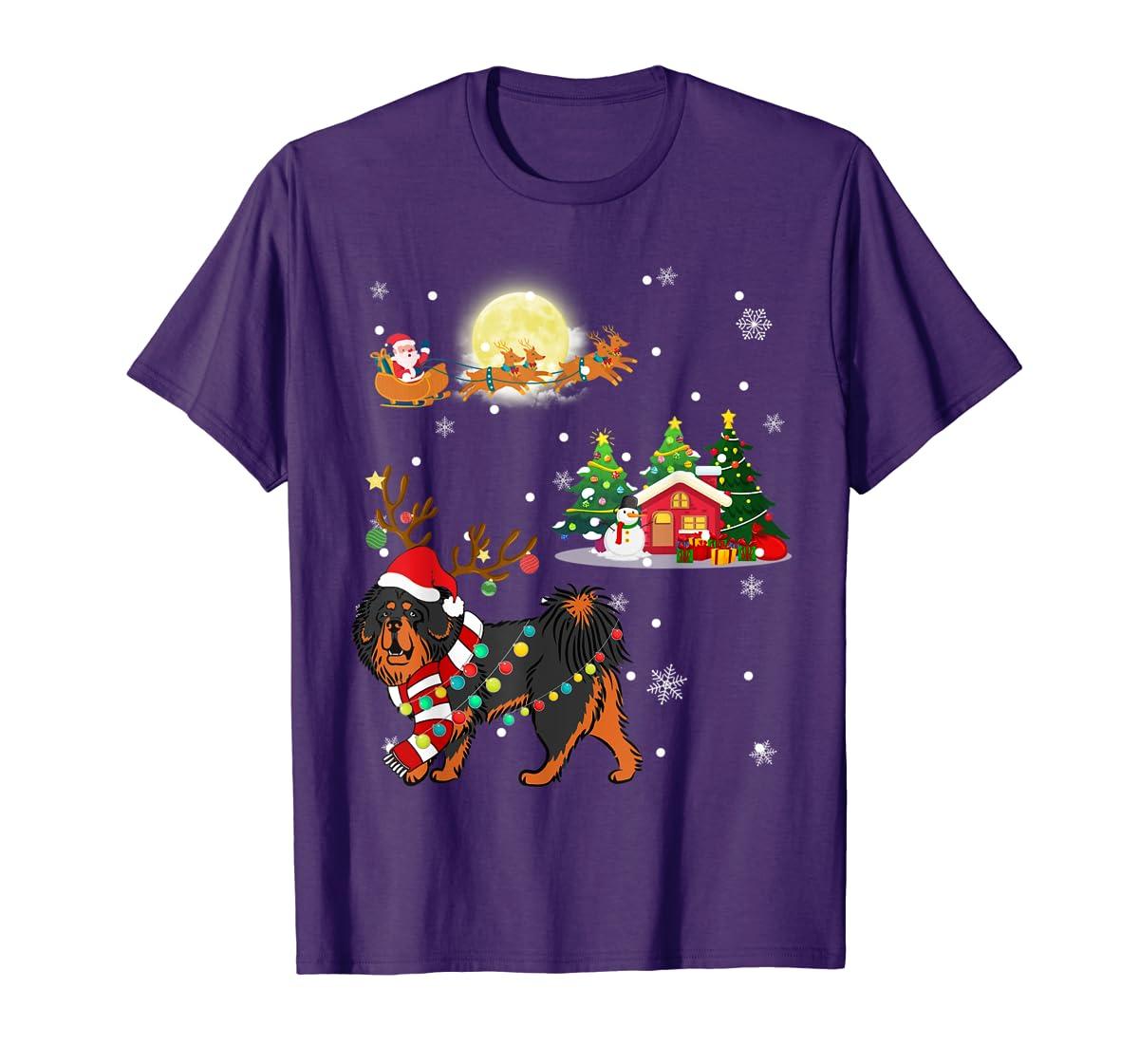 Tibetan Mastiff Dog Led Light Christmas 2019 Gift T-Shirt-Men's T-Shirt-Purple