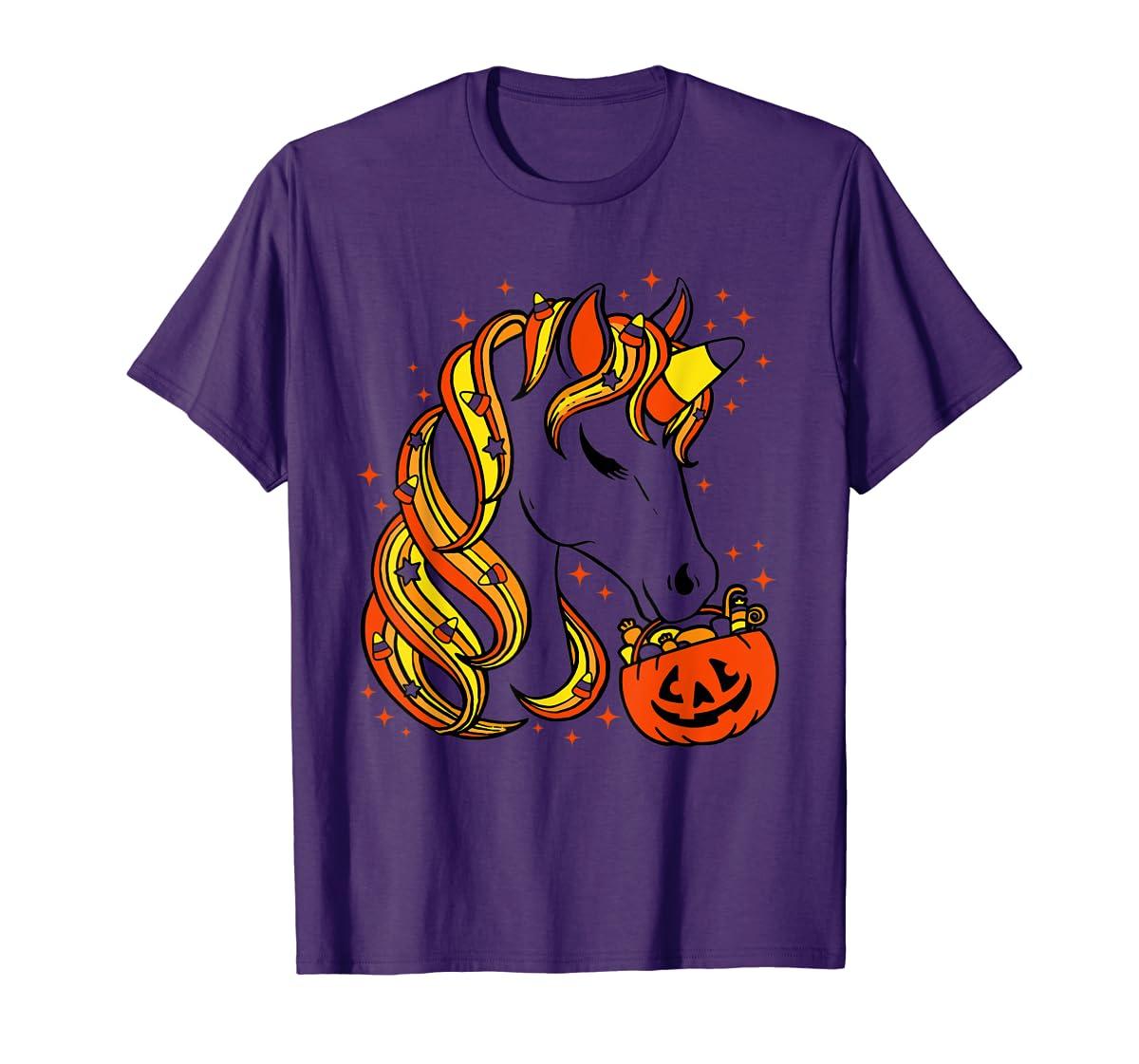 Cute Candy Corn Unicorn Halloween Top T-Shirt-Men's T-Shirt-Purple