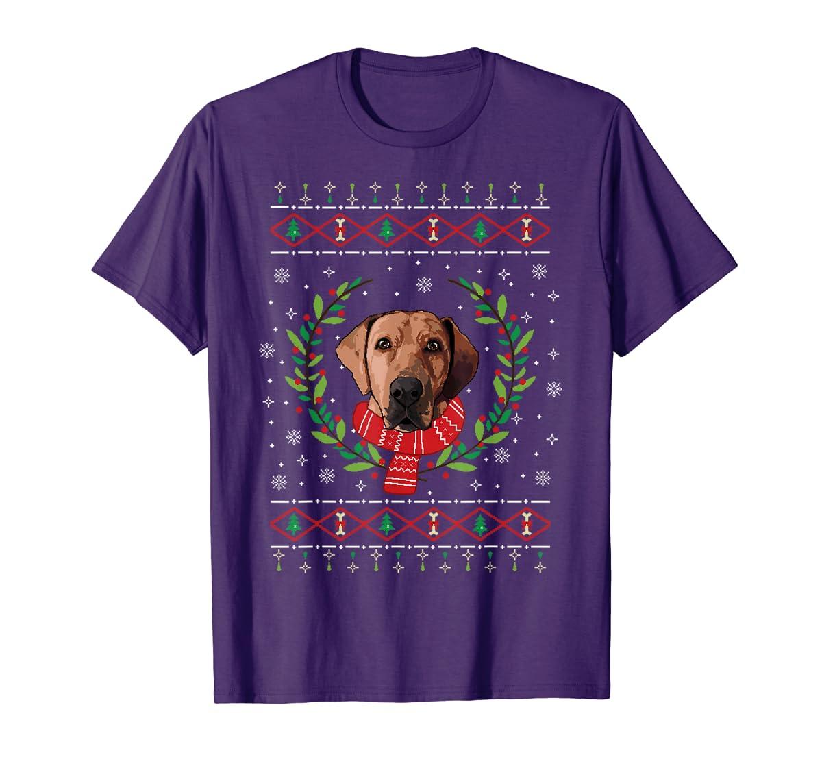 Broholmer Ugly Christmas Jumper T-Shirt Gift T-Shirt-Men's T-Shirt-Purple