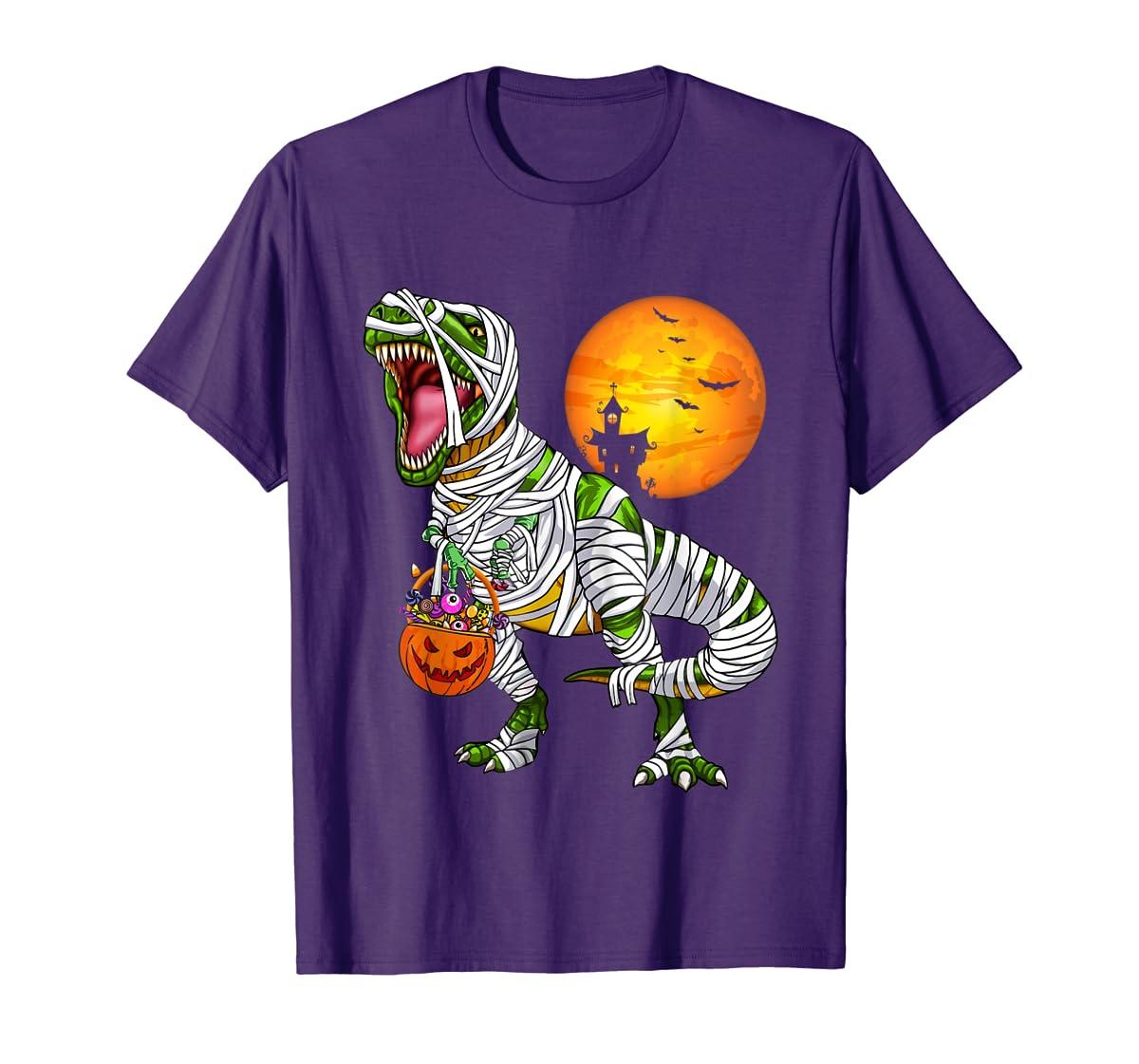 Halloween Gift For Boys Kids Dinosaur T rex Mummy Pumpkin T-Shirt-Men's T-Shirt-Purple