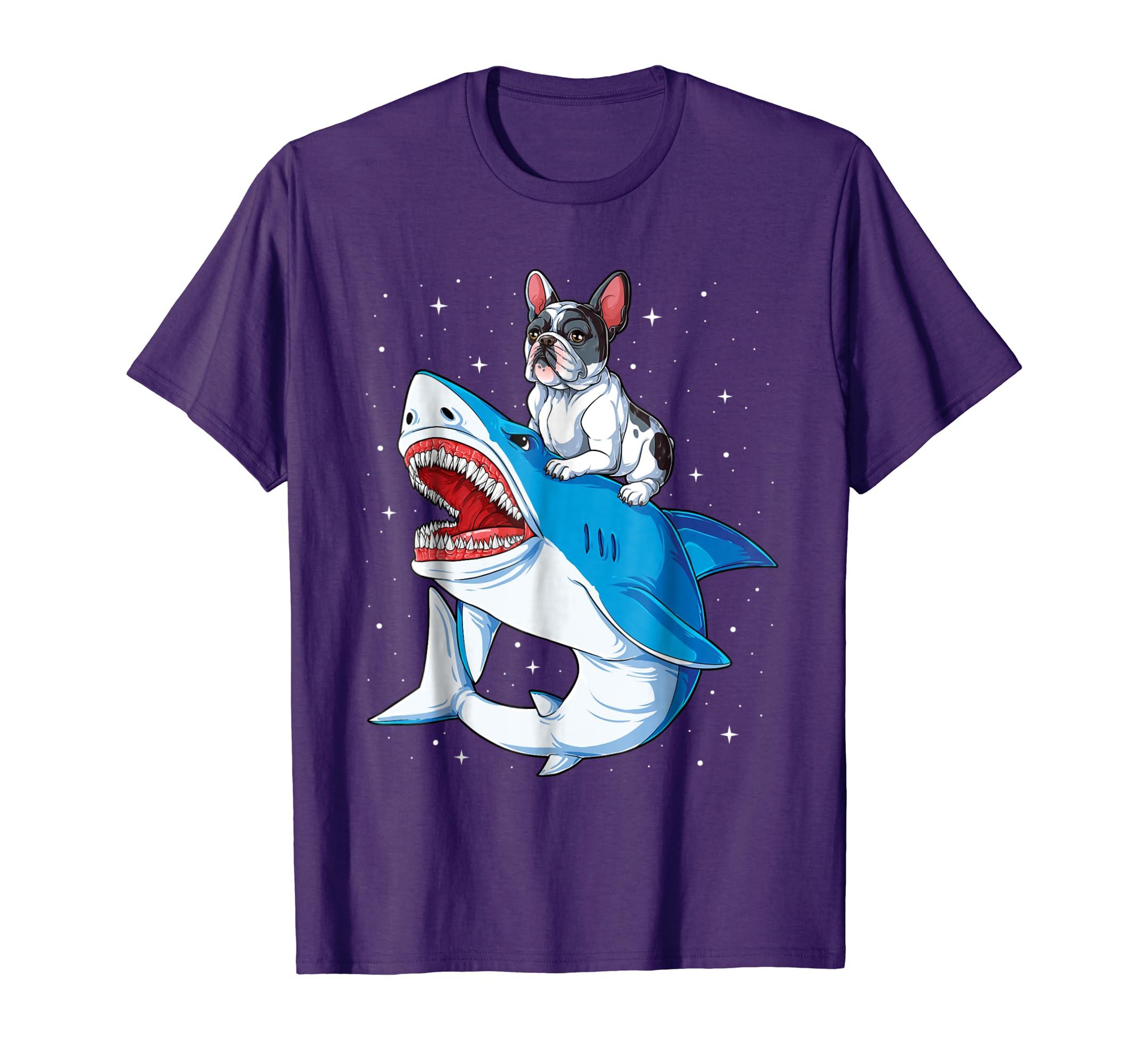 French Bulldog Shark T shirt Kids Men Space Galaxy Jawsome-azvn