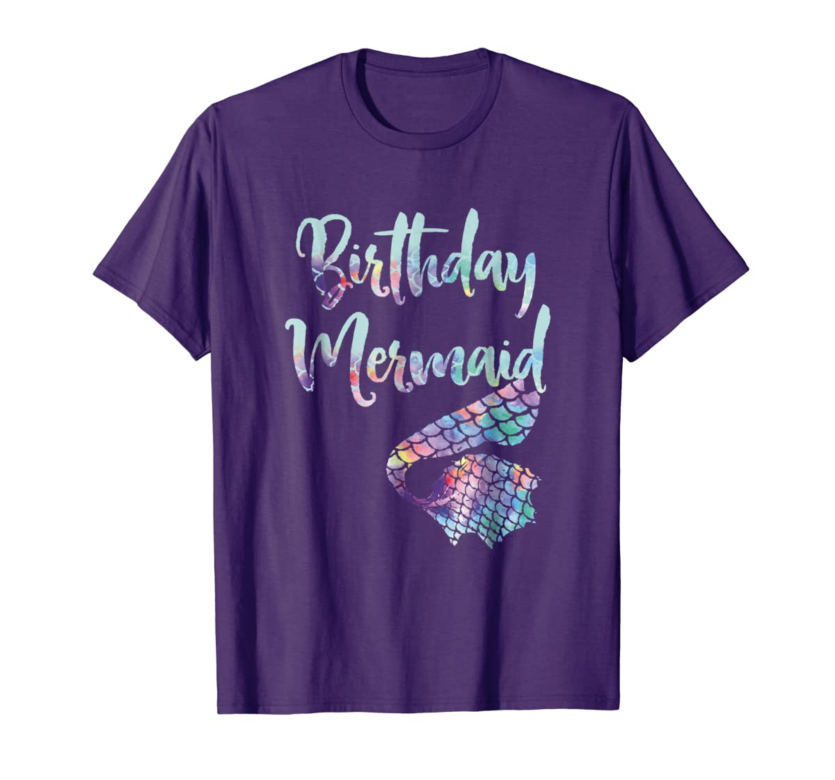 Birthday Mermaid Shirt-Men's T-Shirt-Purple
