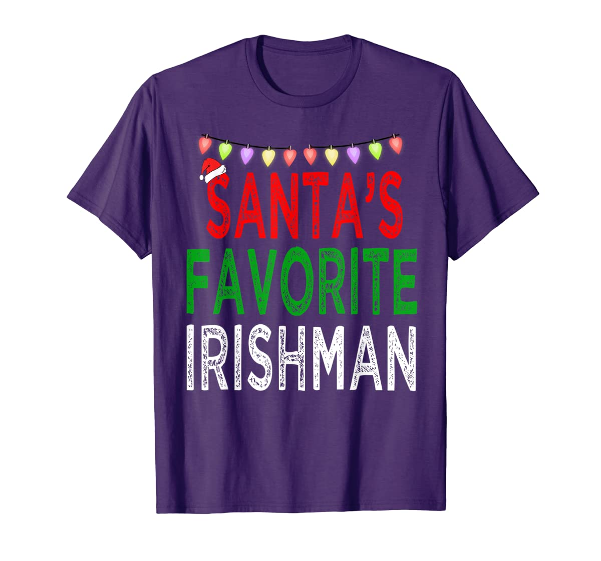 Santa's Favorite Irishman Christmas Xmas Lights Hat Gift T-Shirt-Men's T-Shirt-Purple