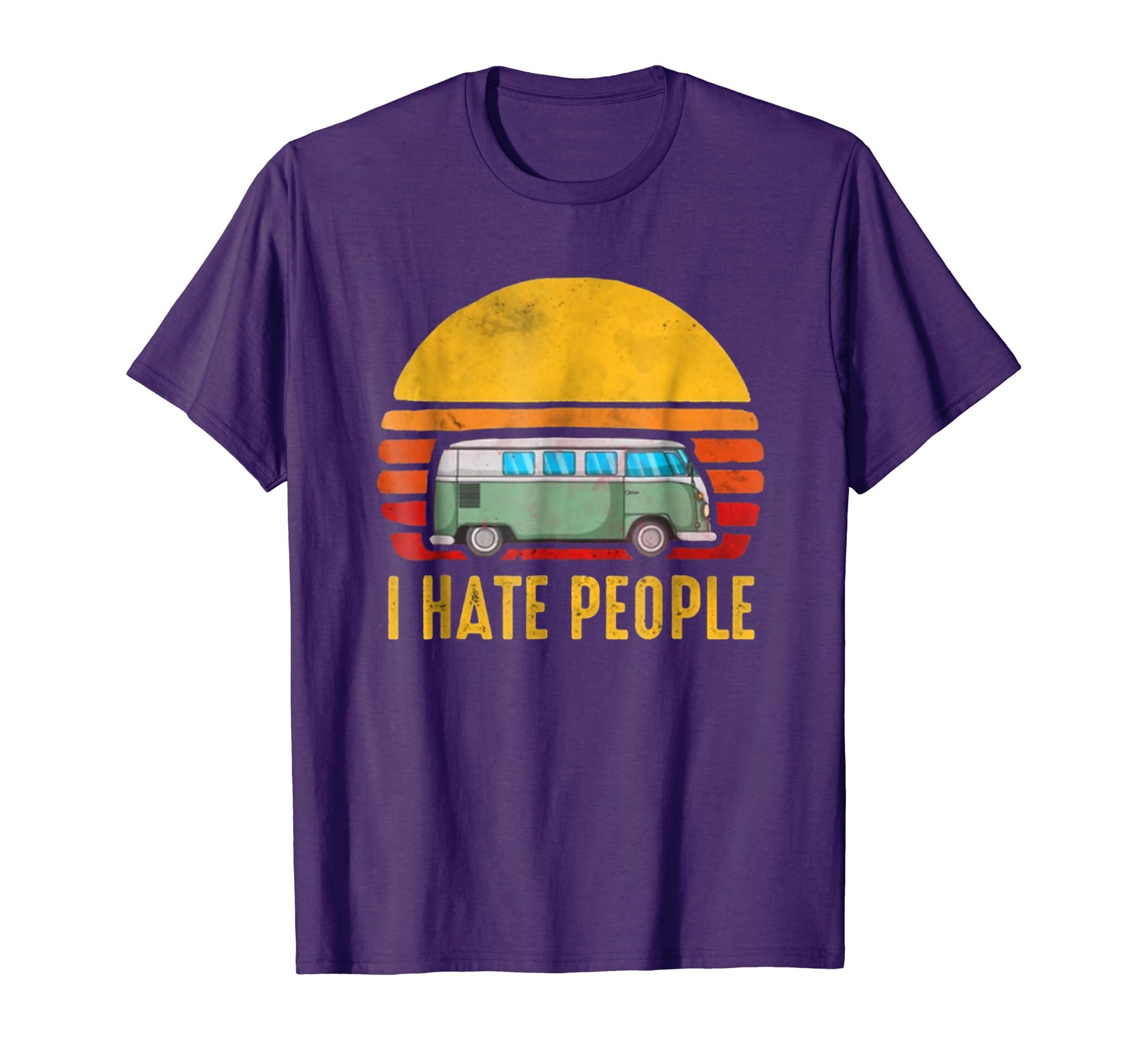 Funny Retro Vintage I Hate People T Shirt Gift for Women Men-4LVS