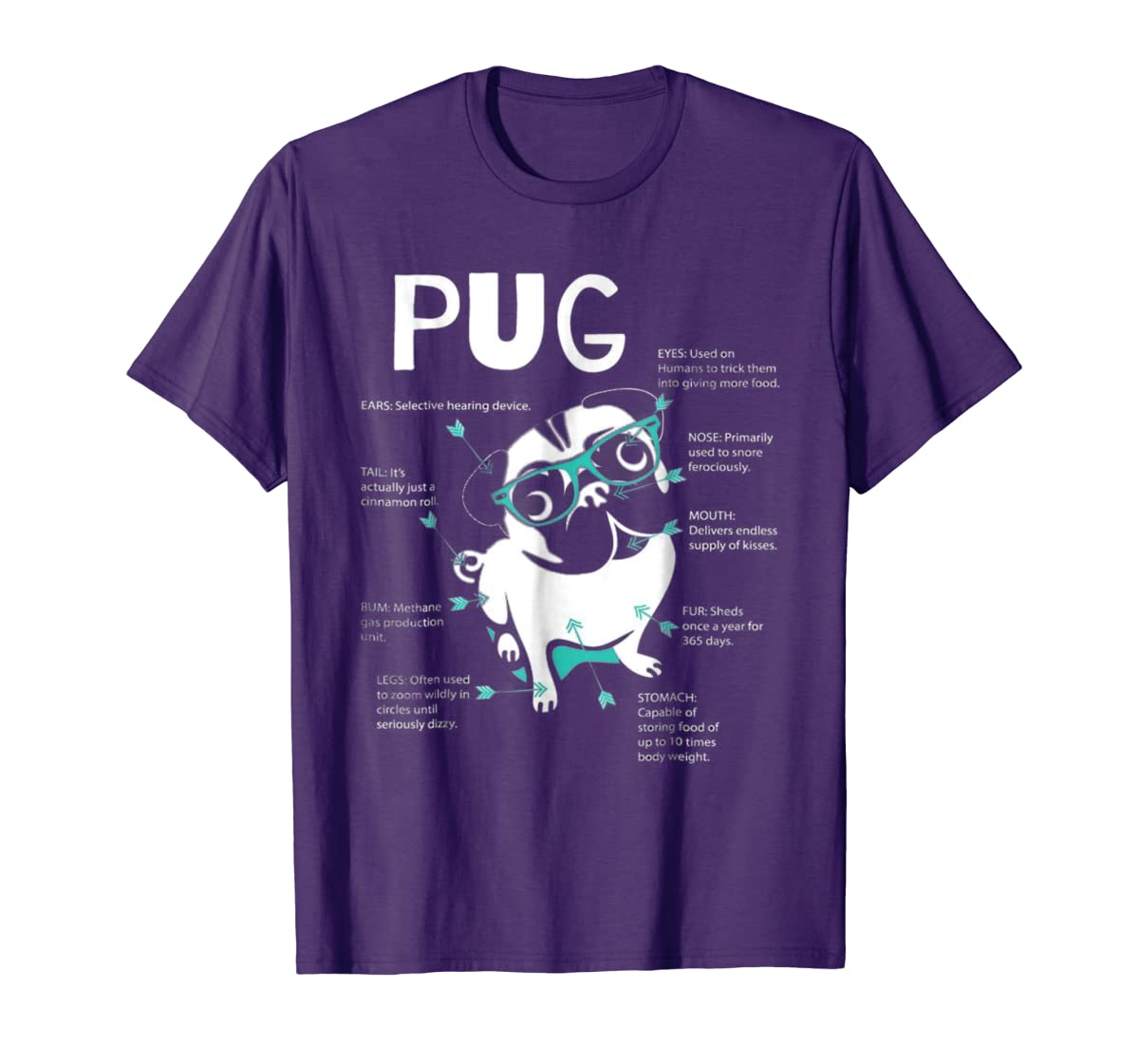 Anatomy Of A Pug Tshirt-Men's T-Shirt-Purple