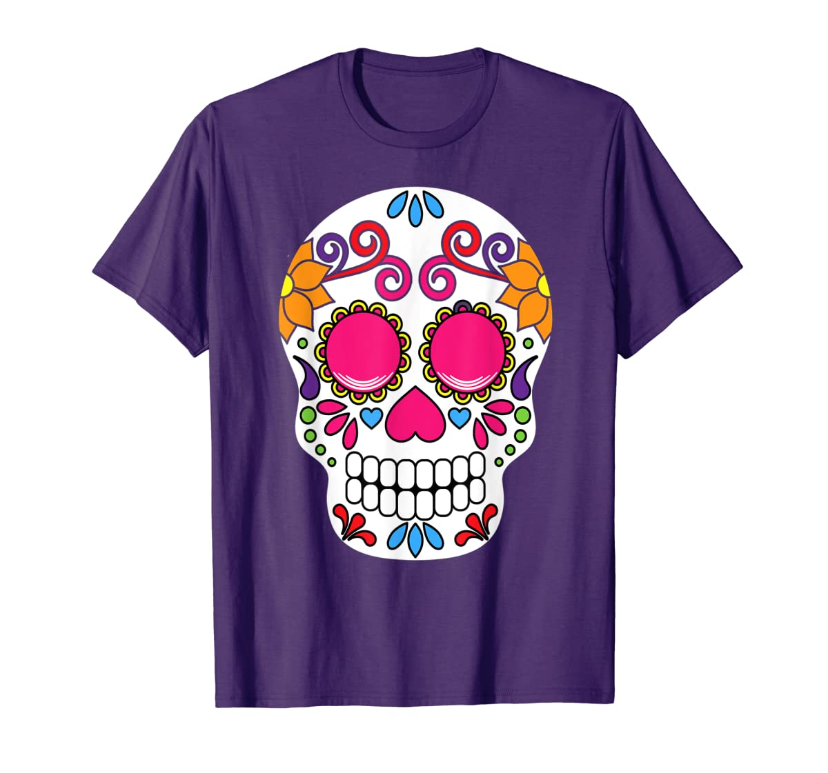Colorful Day Of The Dead Sugar Skull Halloween T-shirt-Men's T-Shirt-Purple