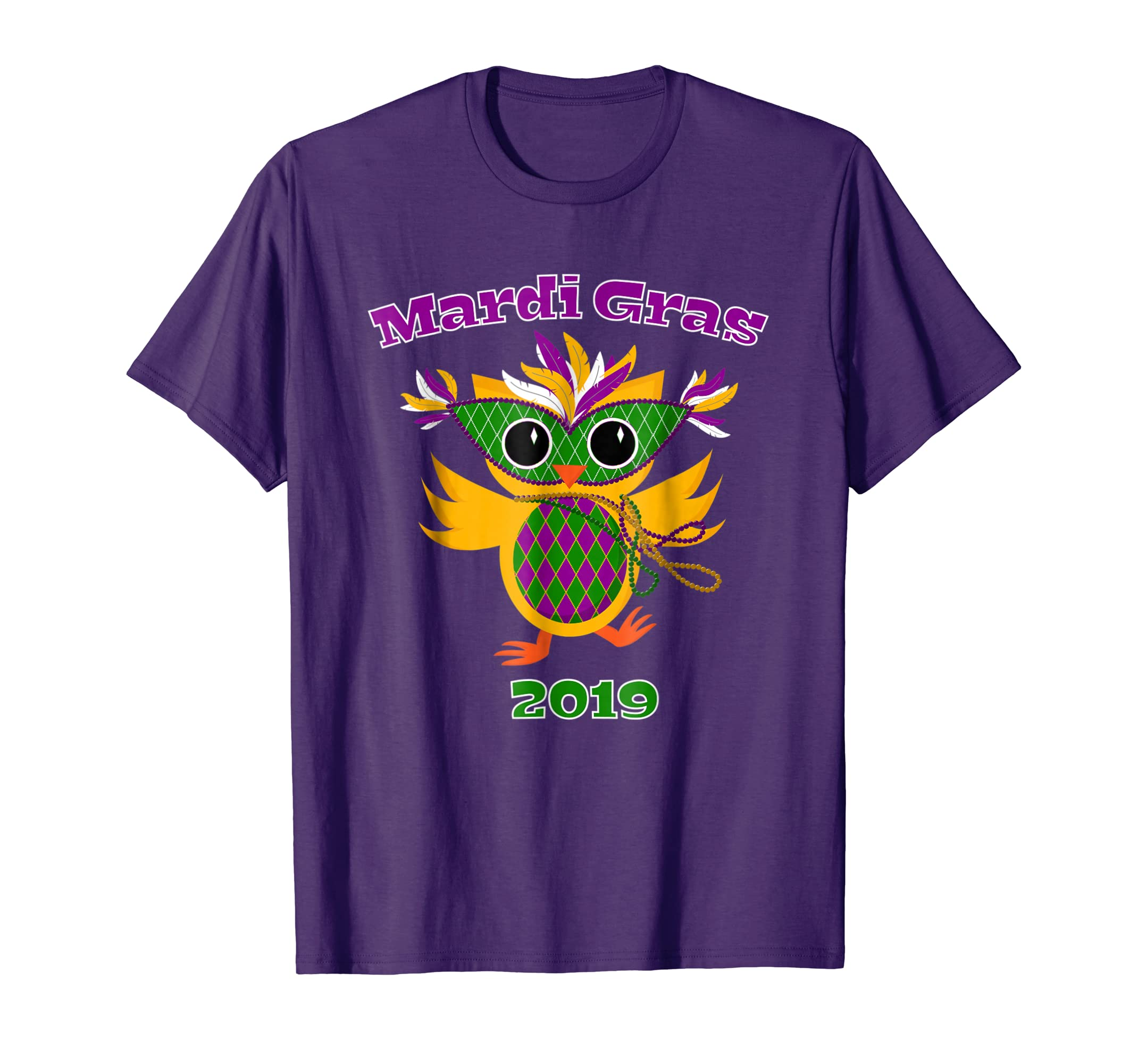 Mardi Gras 2019 Owl T Shirt Mask Beads Feathers-azvn