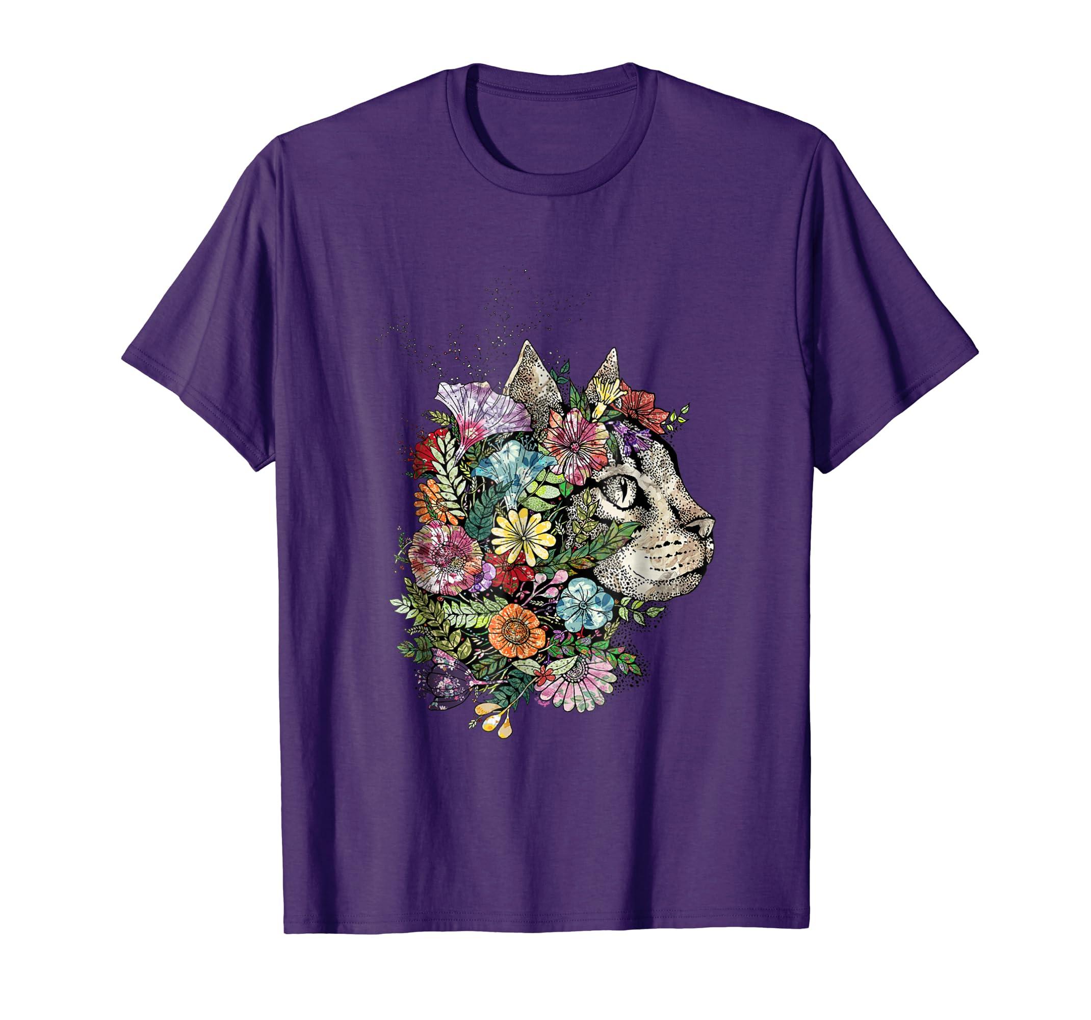 Gardening cat in a bouquet of flowers t-shirt-AZP