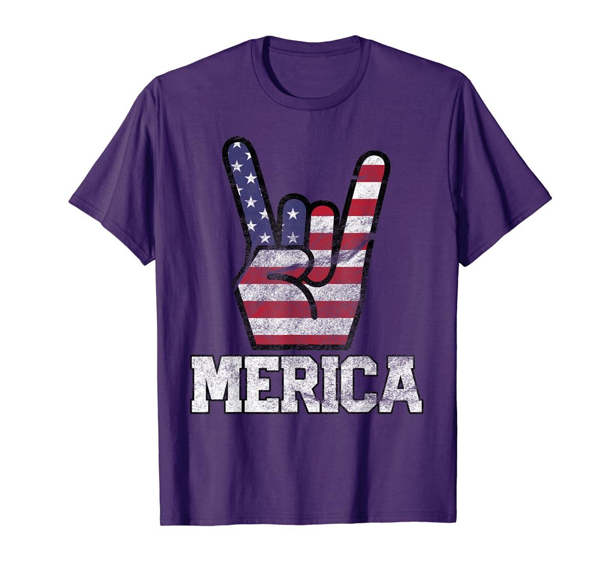 Merica Rock Sign 4th of July Vintage American Flag Retro USA T-Shirt-Men's T-Shirt-Purple
