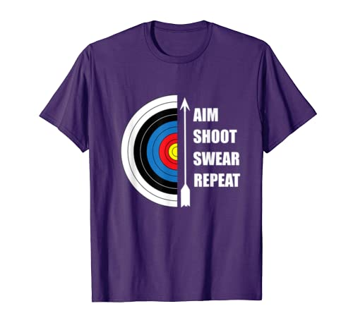 ea70b9df41c Archery Aim Shoot Swear Repeat Target Arrow Funny T-Shirt  Amazon.co.uk   Clothing