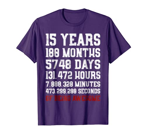 15 Years Old Of Being Awesome Shirt Teen 15th Birthday Gift