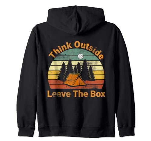 Think Outside Leave The Box Camping Quote Men Women Gift Zip Hoodie