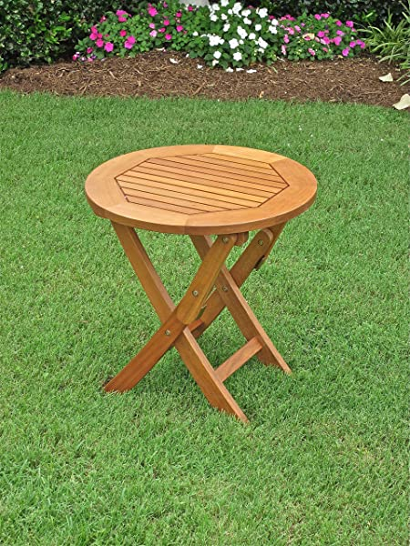 International Caravan TT RT 014 IC Furniture Piece Royal Tahiti Round Wood Folding Table Brown