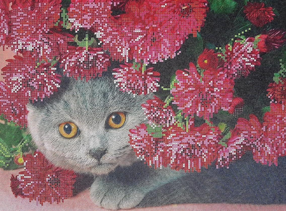 Bead Embroidery kit British Cat Beaded Cross Stitch Grey Kitten Beadpoint kit Embroidery Wall Art Beadwork Decor cat Lover DIY Gift idea