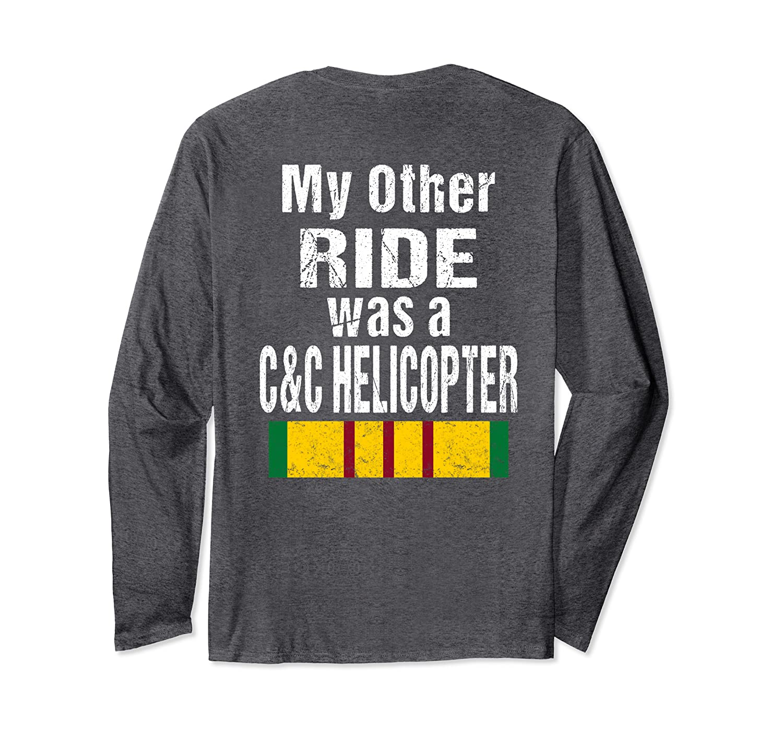 (Print on Back ) US Vietnam War Veteran Biker C&C Helicopter Long Sleeve T-Shirt