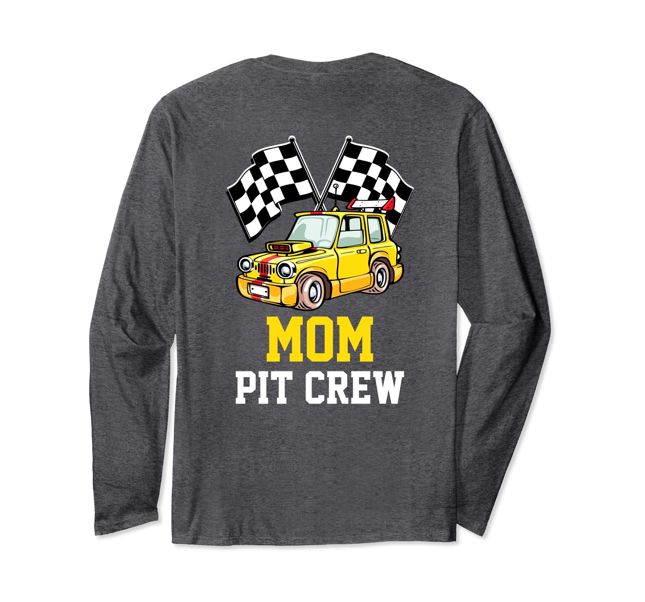 Pit Crew MOM Back Print Long Sleeve T Shirt Race Car-Colonhue