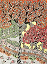 Nature and Technology - Madhubani Painting on Hand Made Paper - Folk Painting from The Village of Ma