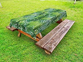 Ambesonne Leaf Outdoor Tablecloth, Tropical Exotic Banana Forest Palm Tree Leaves Watercolor Design Image, Decorative Washable Picnic Table Cloth, 58