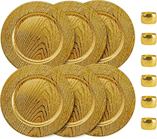 Home Collectives 13 Inch Round Elegant Serve ware Charger Plates with Matching Napkin Rings, Wedding, Dinner party, Event - Choose from our Variety of Styles and Quanties (6, Moslem Gold)