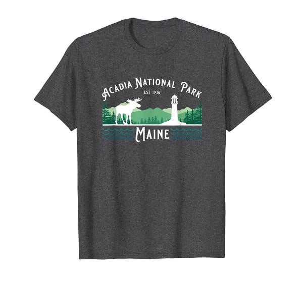 Acadia National Park Maine Hiking Camping Moose Souvenir T-Shirt