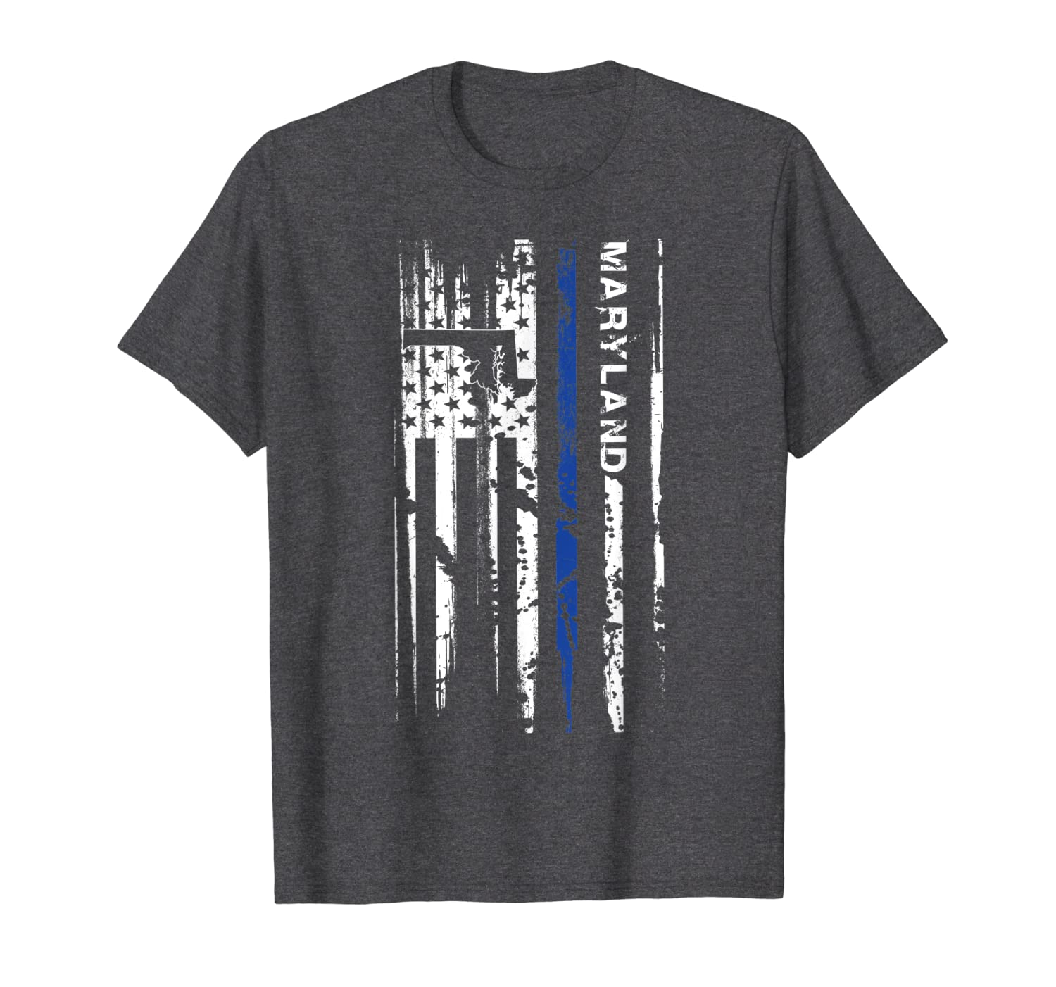 Maryland Cop Thin Blue Line LEO Police American Flag T-Shirt-ANZ