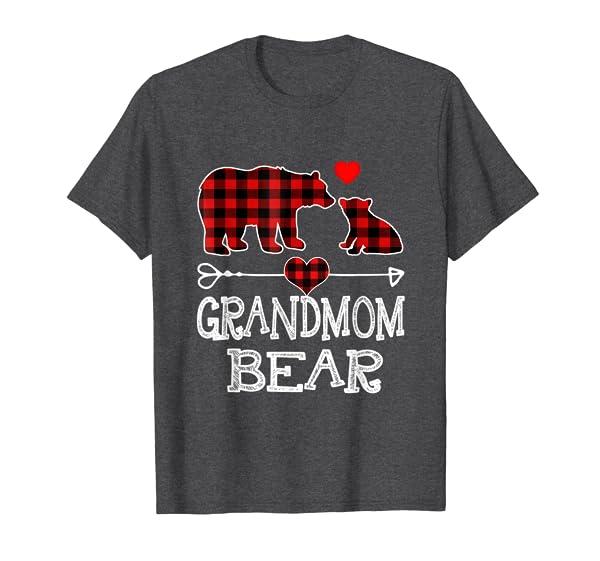 Grandmom Bear Christmas Pajama Red Plaid Buffalo Family Gift T-Shirt
