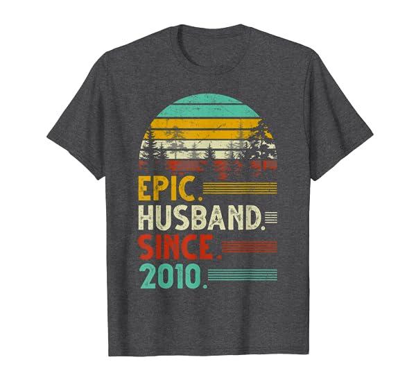 Epic Husband Since 2010 9th Wedding Anniversary Gift Shirts T-Shirt