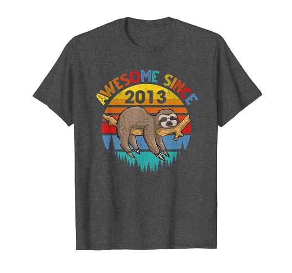 Awesome Since 2013 Birthday T-Shirt Funny Sloth Birthday T-Shirt