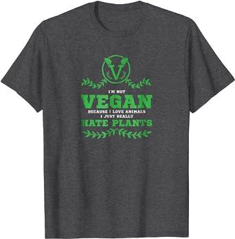Vegan Because I Love Animals Mens Short Sleeve New Cotton Black T-shirt