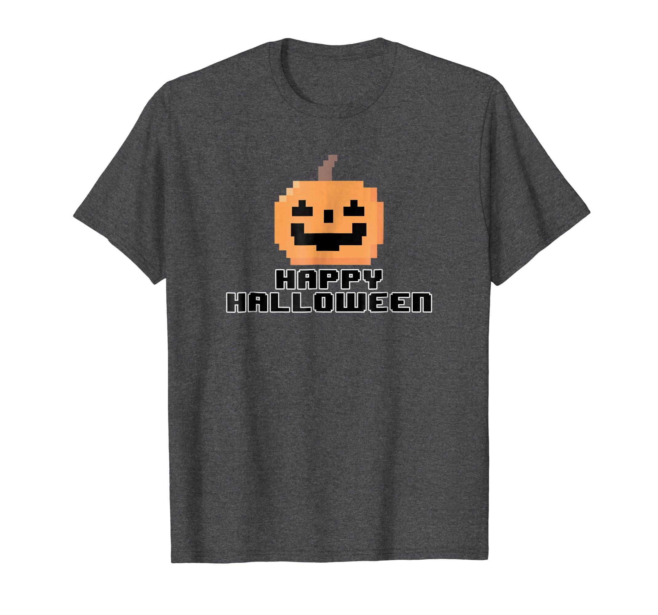 8-bit Classic Arcade Style Large Happy Halloween Pumpkin T-Rose