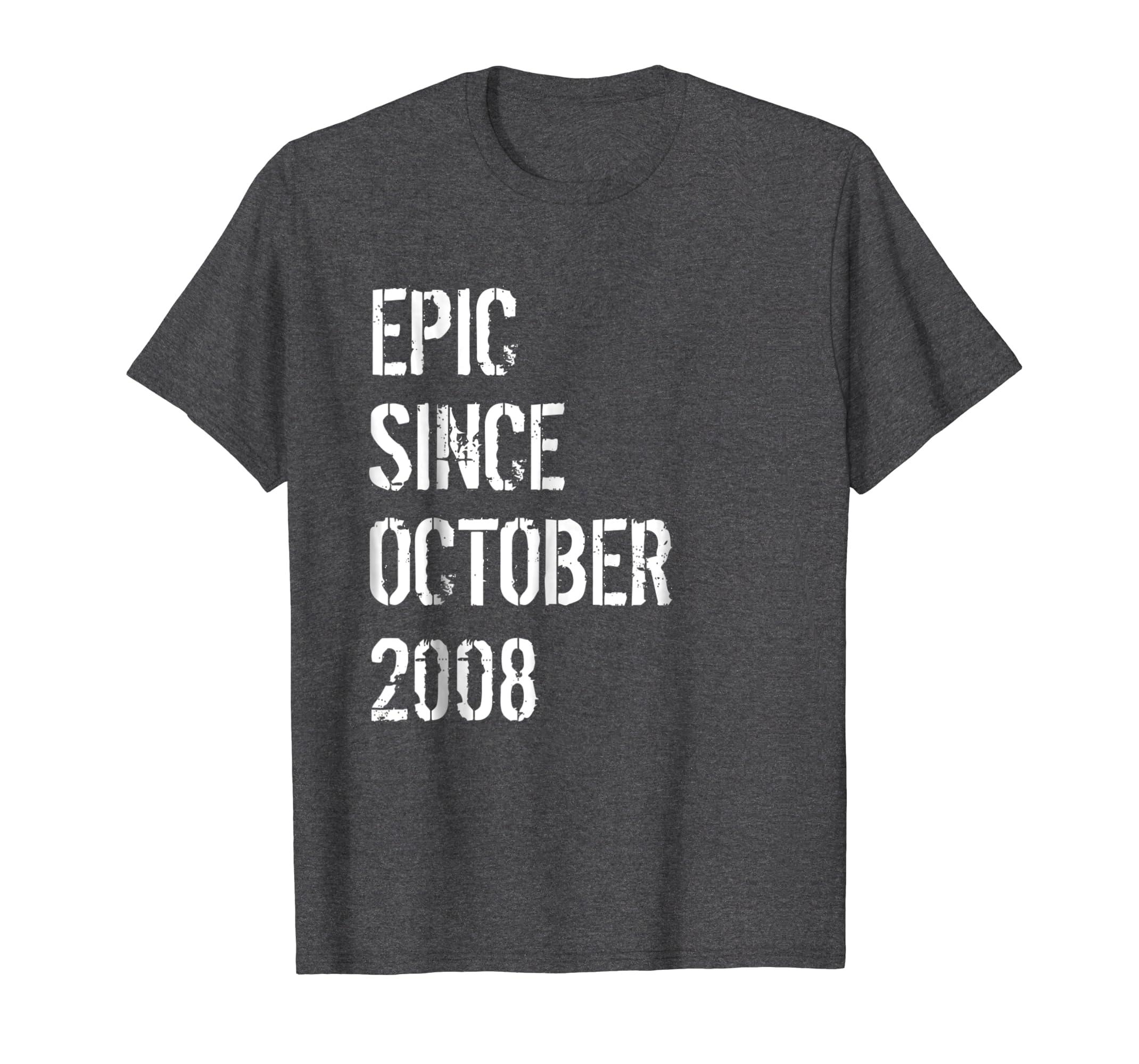10th Birthday Gift Shirt Boys Girls Born In October 2008