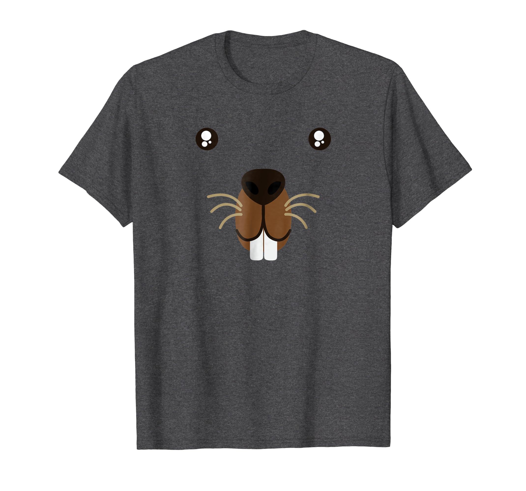 e9f32158eacd Amazon.com: Groundhog Day Beaver Cute Animal Face Costume T-Shirt: Clothing