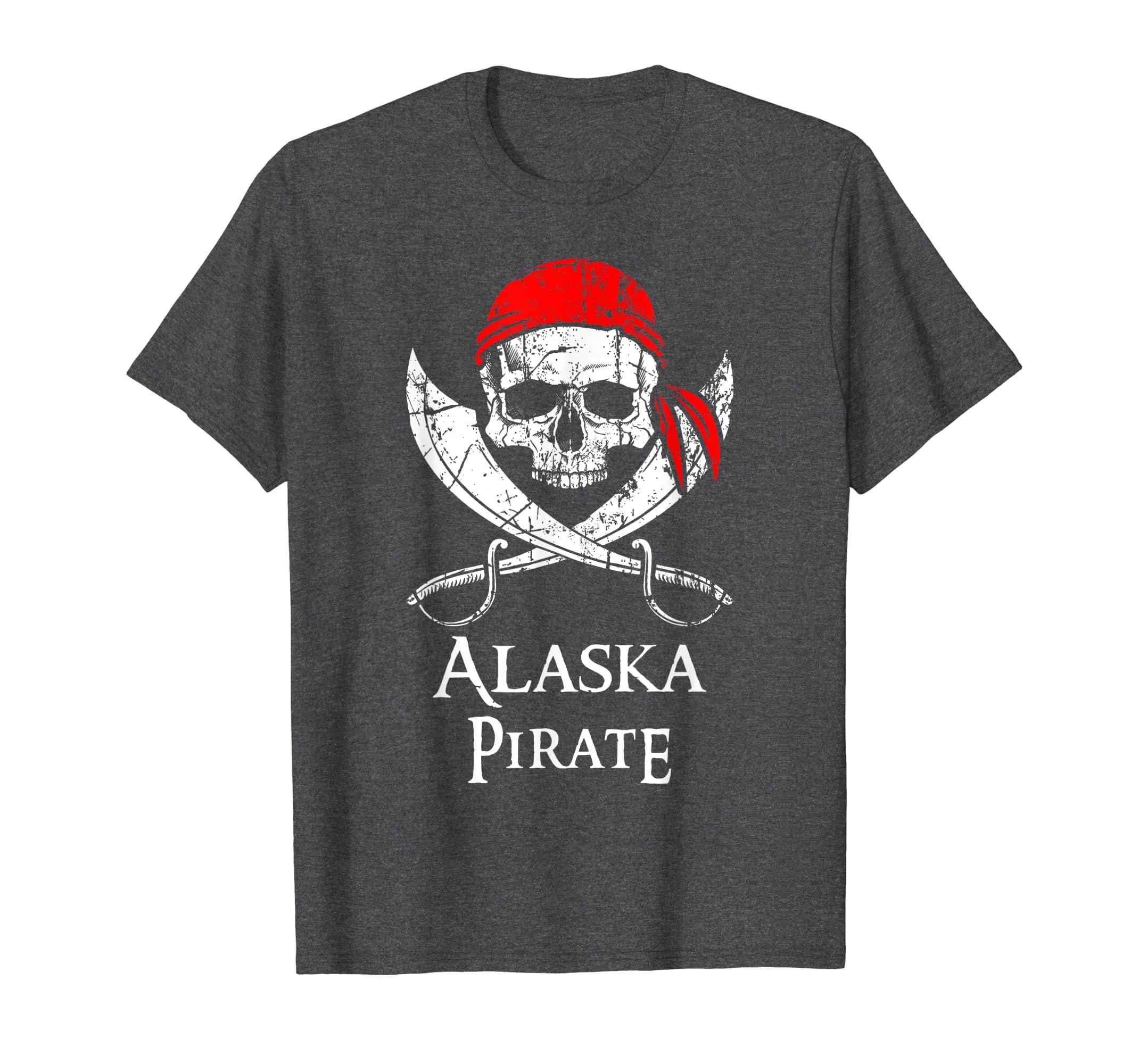 Alaska Pirate Jolly Roger State Pride T-Shirt-Teehay