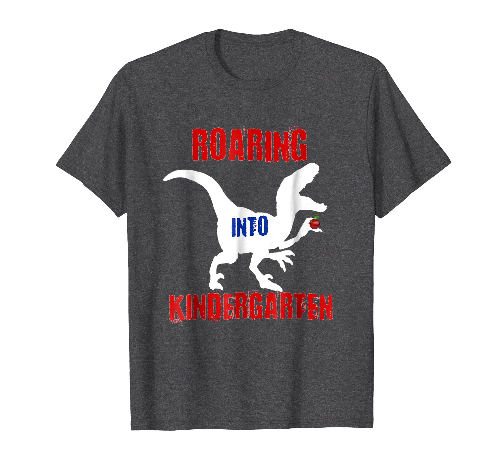 Back to School Shirt Boys Dinosaur Roaring Into Kindergarten-Awarplus