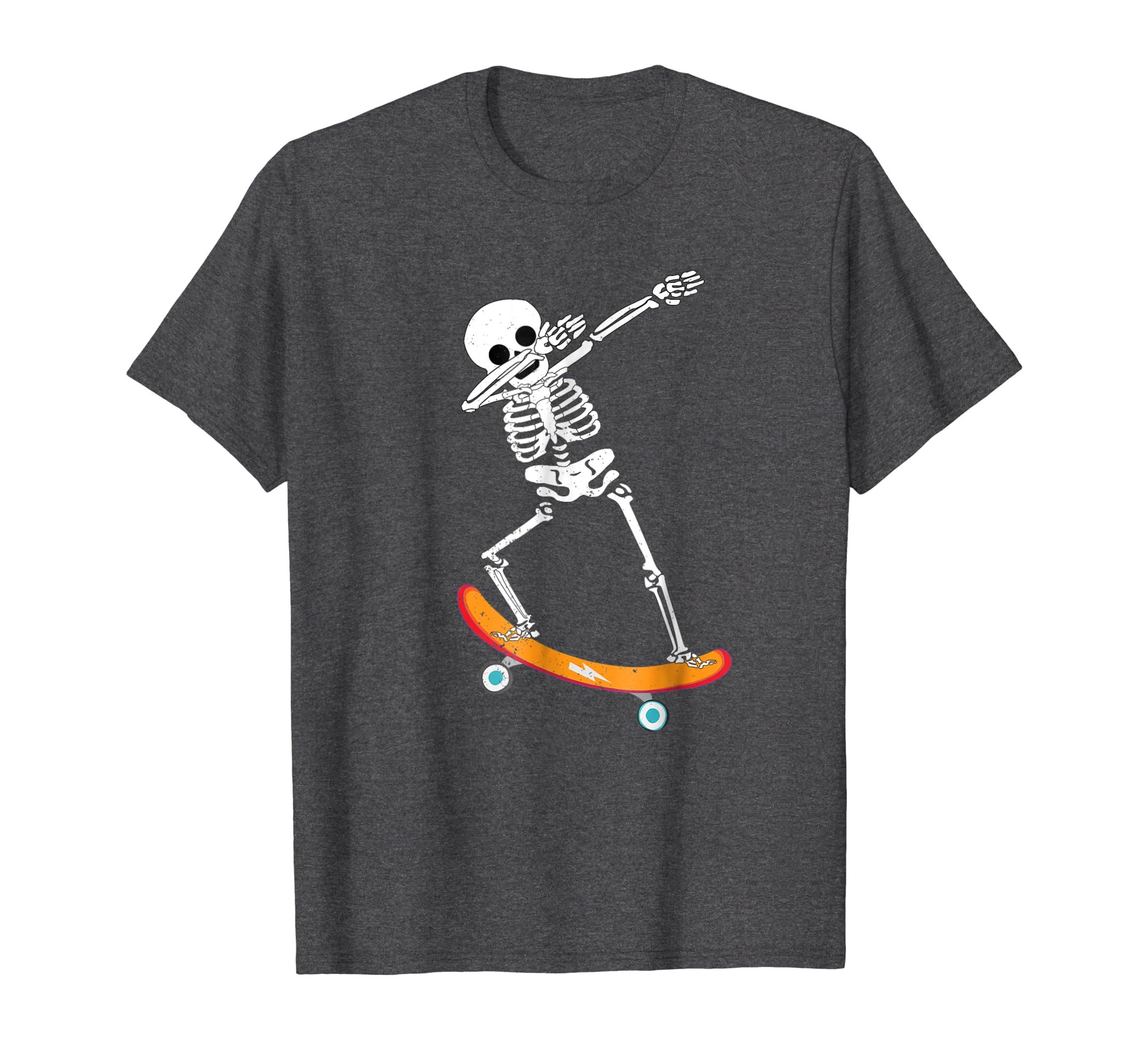 21c87a7d5b3b Amazon.com: Halloween Dabbing Skeleton Skater Shirt Skull Skateboard Tee:  Clothing