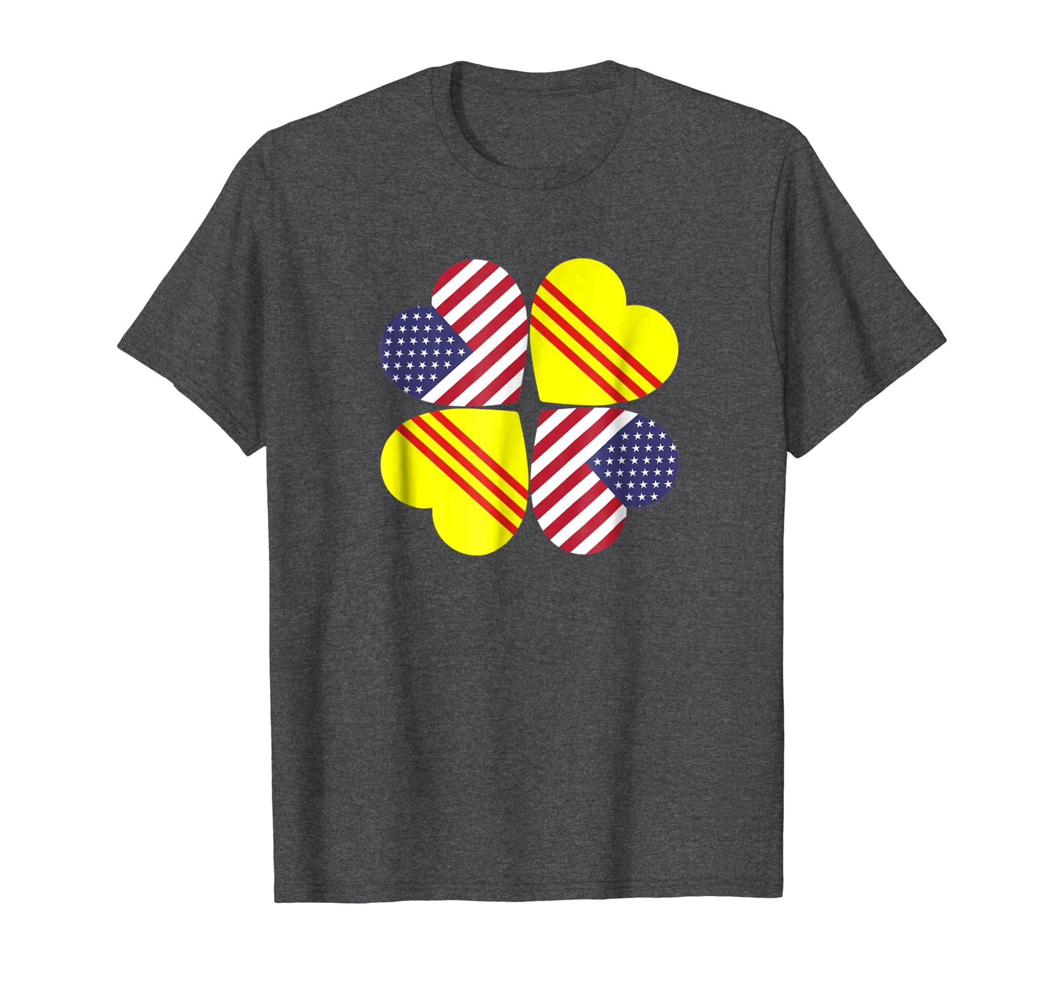 Vietnam USA Flag Heart T Shirt for Vietnamese Americans-SFL