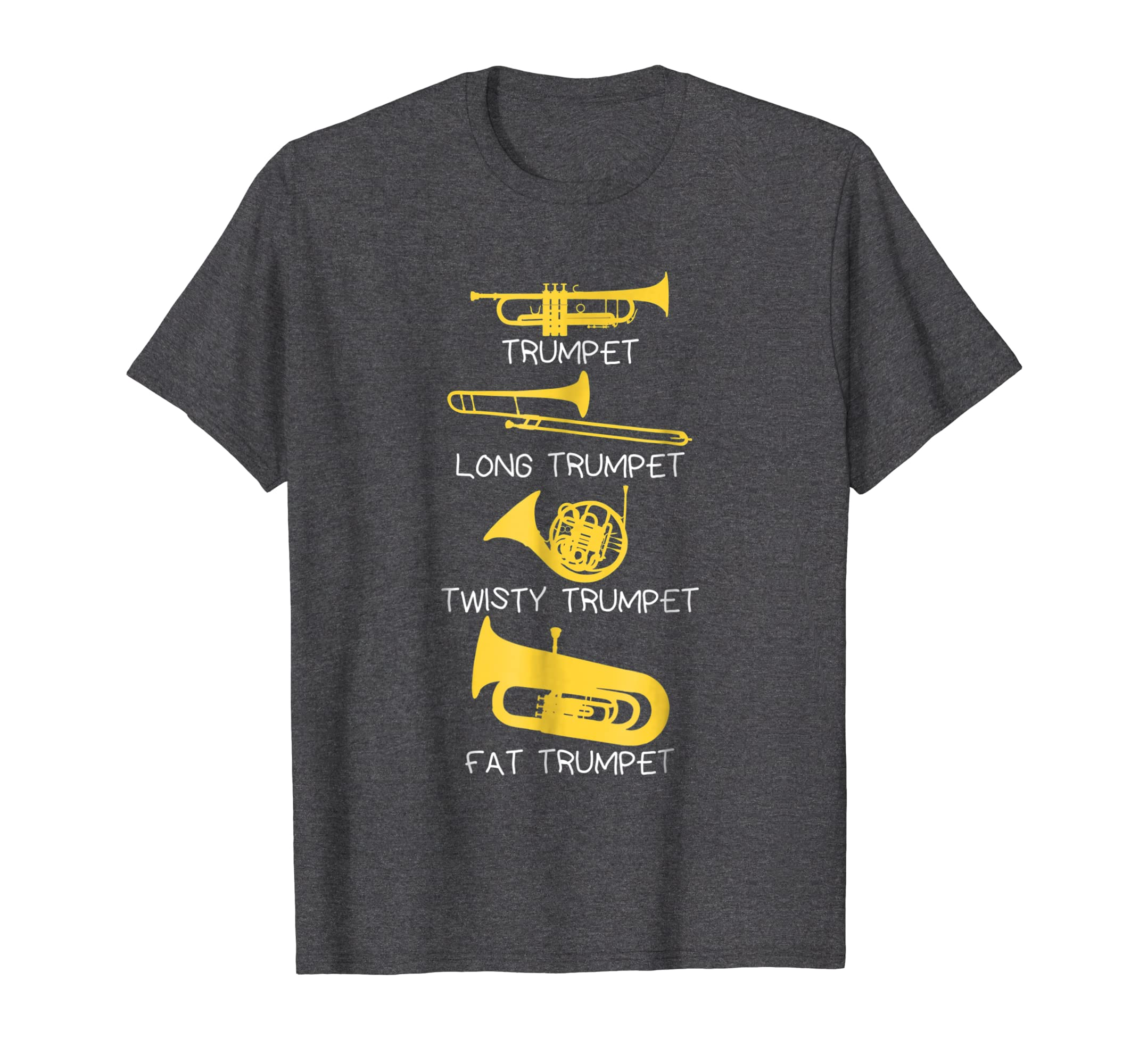 3a4a13b6db Amazon.com: Funny Types of Trumpet Player T-Shirt, Marching Jazz Band:  Clothing